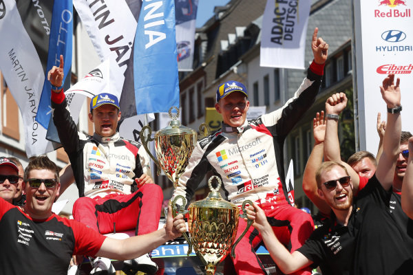 Ott Tanak and Martin Jarveoja celebrate winning Rallye Deutschland 2018