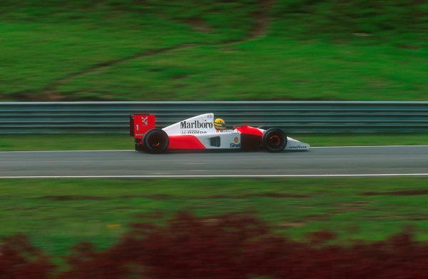1991 Brazilian Grand Prix.Interlagos, Sao Paulo, Brazil.22-24 March 1991.Ayrton Senna (McLaren MP4/6 Honda) 1st position.Ref-91 BRA 13.World Copyright - LAT Photographic