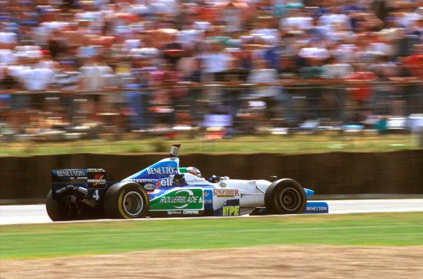 Silverstone, England.12-14 July 1996.Gerhard Berger (Benetton B196 Renault) 2nd position.Ref-96 GB 23.World Copyright - LAT Photographic