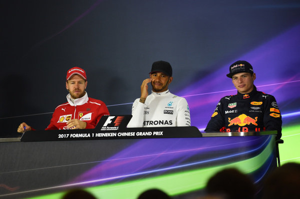 Sebastian Vettel (GER) Ferrari, race winner Lewis Hamilton (GBR) Mercedes AMG F1 and Max Verstappen (NED) Red Bull Racing in the Press Conference at Formula One World Championship, Rd2, Chinese Grand Prix, Race, Shanghai, China, Sunday 9 April 2017.