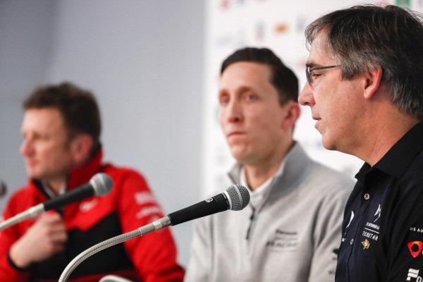 Mark Preston, Team Principal, DS TECHEETAH in the press conference with James Barclay, Team Director, Panasonic Jaguar Racing and Allan McNish, Team Principal, Audi Sport Abt Schaeffler