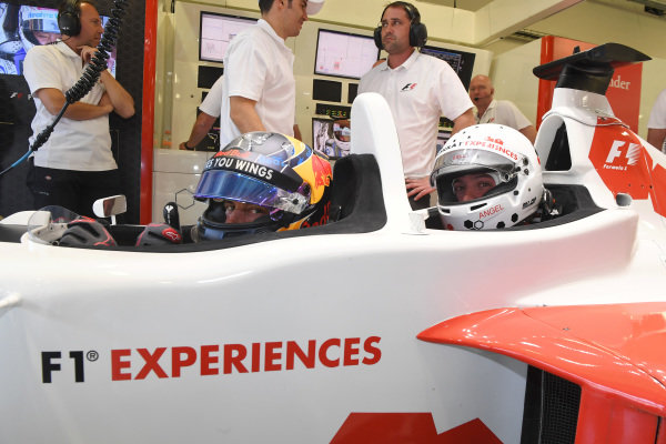 Patrick Friesacher (AUT) F1 Experiences 2-Seater driver and F1 Experiences 2-Seater passenger at Formula One World Championship, Rd18, Mexican Grand Prix, Practice, Circuit Hermanos Rodriguez, Mexico City, Mexico, Friday 27 October 2017.
