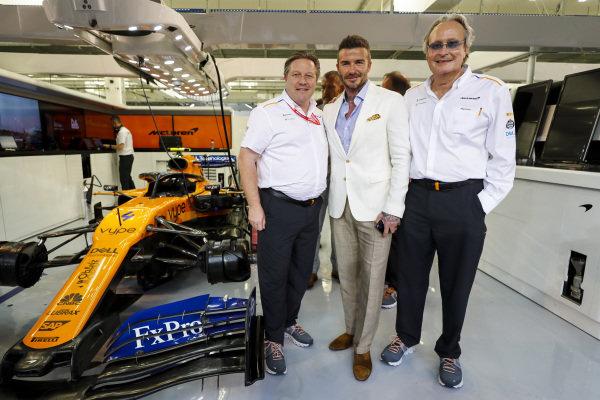 David Beckham with Zak Brown, CEO, McLaren Racing and Mansour Ojjeh, co-owner, McLaren