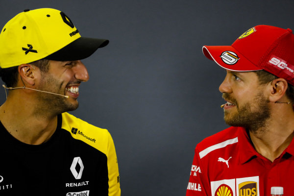 Daniel Ricciardo, Renault F1 Team and Sebastian Vettel, Ferrari in Press Conference