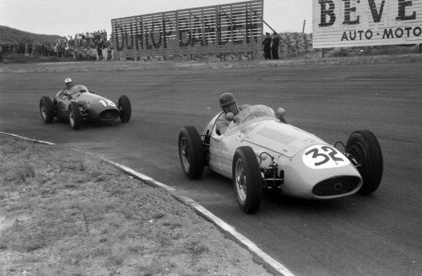 Horace Gould, Maserati 250F, leads Luigi Musso, Maserati 250F.