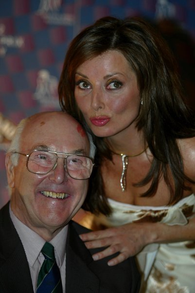 Carol Vorderman (GBR) with Murray Walker (GBR)