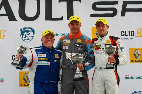 2014 Renault Clio Cup, Snetterton, Norfolk. 1st - 3rd August 2014. Race 1 Podium (l-r) James Colburn (GBR) Westbourne Motorsport Renault Clio Cup, Josh Cook (GBR) SV Racing Renault Clio Cup, Mike Bushell (GBR) Team Pyro Renault Clio Cup. World Copyright: Ebrey / LAT Photographic.