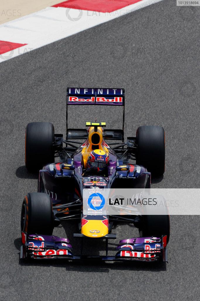 Bahrain International Circuit, Sakhir, Bahrain Friday 19th April 2013 Mark Webber, Red Bull RB9 Renault.  World Copyright: Charles Coates/LAT Photographic ref: Digital Image _N7T0049