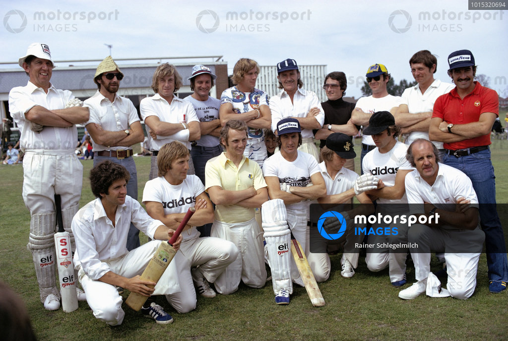 Team photo for the annual charity cricket match. Back row (L to R): Ken Tyrrell, John Watson, Guy Edwards, Mike Hailwood, James Hunt, Graham Hill, Patrick Depailler, Peter Gethin, David Purley and Clay Regazzoni. Front row (L to R): Jody Scheckter, Derek Bell, Niki Lauda, Jackie Stewart, Ronnie Peterson, Jochen Mass and Denny Hulme.