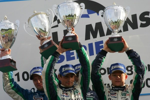 L-R: Race winners Didier Andre (FRA), Jean-Christophe Boullion (FRA) and Emmanuel Collard (FRA) for Pescarolo Sport.