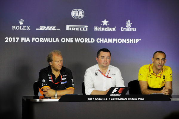 Baku City Circuit, Baku, Azerbaijan. Friday 23 June 2017. Bob Fernley, Deputy Team Principal, Force India, Eric Boullier, Racing Director, McLaren, and Cyril Abiteboul, Managing Director, Renault Sport F1, in the Team Principals' Press Conference. World Copyright: Zak Mauger/LAT Images ref: Digital Image _56I7006