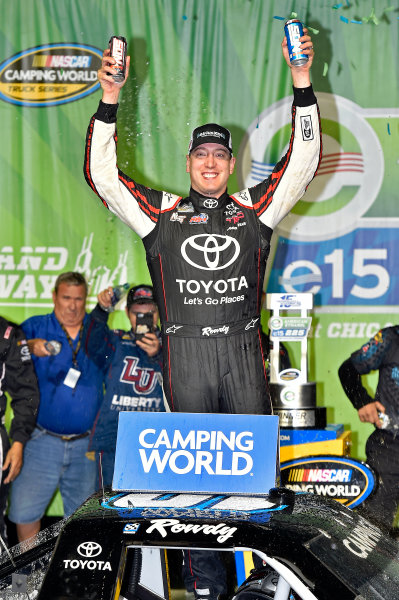 15-16 September, 2016, Joliet, Illinois USA Kyle Busch celebrates his win ?2016, Nigel Kinrade LAT Photo USA