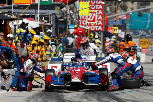 2017 Verizon IndyCar Series Toyota Grand Prix of Long Beach Streets of Long Beach, CA USA Sunday 9 April 2017 Carlos Munoz, pit stop World Copyright: Michael L. Levitt LAT Images