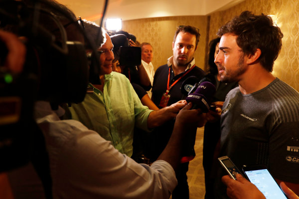 Bahrain International Circuit, Sakhir, Bahrain.  Wednesday 12 April 2017. Fernando Alonso talks to the media after announcing his deal to race in the 2017 Indianapolis 500 in an Andretti Autosport run McLaren Honda car. World Copyright: Glenn Dunbar/LAT Images ref: Digital Image _X4I0247