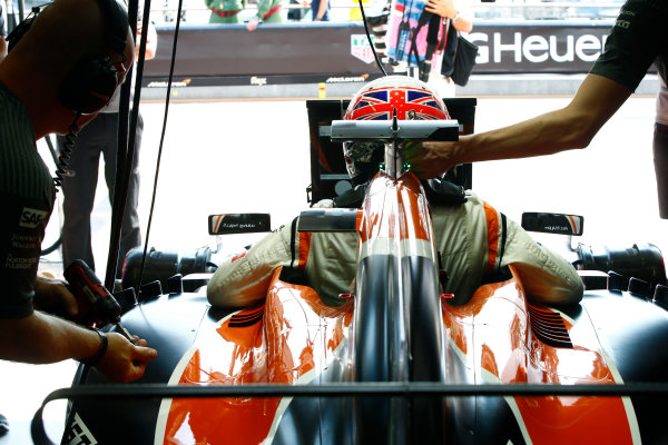 Monte Carlo, Monaco. Saturday 27 May 2017. Jenson Button, McLaren, settles in to his seat. World Copyright: Andy Hone/LAT Images ref: Digital Image _ONZ8937