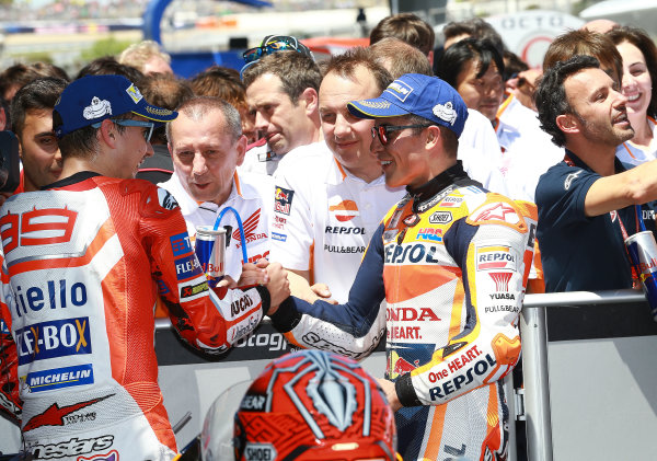 2017 MotoGP Championship - Round 4 Jerez, Spain Sunday 7 May 2017 Jorge Lorenzo, Ducati Team, Marc Marquez, Repsol Honda Team World Copyright: Gold & Goose Photography/LAT Images ref: Digital Image 16113
