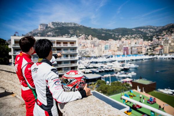 2017 FIA Formula 2 Round 3. Monte Carlo, Monaco. Wednesday 24 May 2017. Charles Leclerc (MCO, PREMA Racing), Nobuharu Matsushita (JPN, ART Grand Prix). Photo: Zak Mauger/FIA Formula 2. ref: Digital Image _54I4719