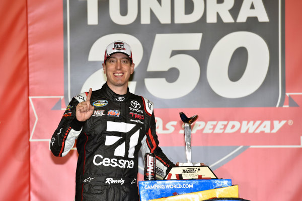 NASCAR Camping World Truck Series Toyota Tundra 250 Kansas Speedway, Kansas City, KS USA Friday 12 May 2017 Kyle Busch, Cessna Toyota Tundra celebrates his win in Victory Lane World Copyright: Nigel Kinrade LAT Images ref: Digital Image 17KAN1nk07181