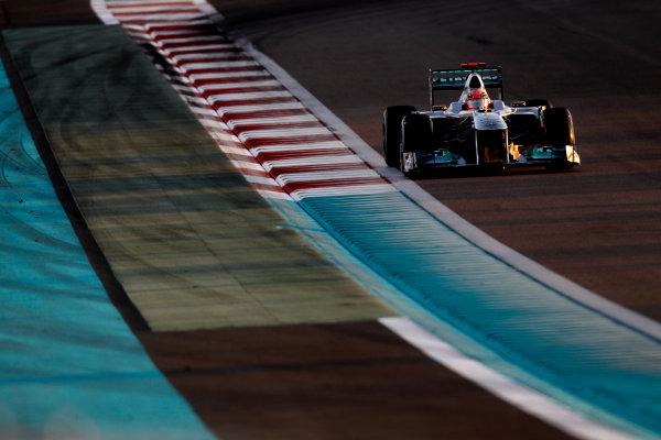 Yas Marina Circuit, Abu Dhabi, United Arab Emirates12th November 2011.Michael Schumacher, Mercedes GP W02. Action. World Copyright:Glenn Dunbar/LAT Photographic ref: Digital Image _G7C4355