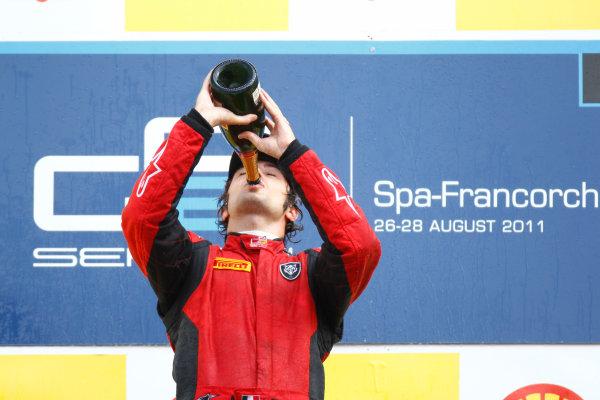 Spa - Francorchamps, Spa, Belgium. 28th August. Sunday Race. Luca Filippi (ITA, Scuderia Coloni) celebrates his victory on the podium. Photo: Glenn Dunbar/GP2 Media Service. Ref: _G7C7824 jpg