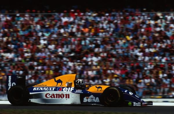 Damon Hill (GBR) Williams FW 15C looked set to win his first GP until he was forced to retire with a puncture. German Grand Prix, Hockenheim, 25 July 1993
