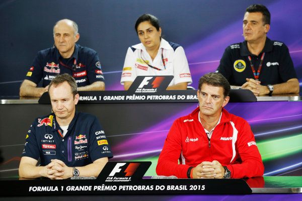 Interlagos, Sao Paulo, Brazil. Friday 13 November 2015. Jonathan Wheatley, Team Manager, Red Bull Racing, Franz Tost, Team Principal, Toro Rosso, Monisha Kaltenborn, Team Principal and CEO, Sauber, Federico Gastaldi, Deputy Team Principal, Lotus F1, and Greame Lowdon, President and Sporting Director, Marussia F1, in the Team Principals Press Conference. World Copyright: Alastair Staley/LAT Photographic ref: Digital Image _R6T3808