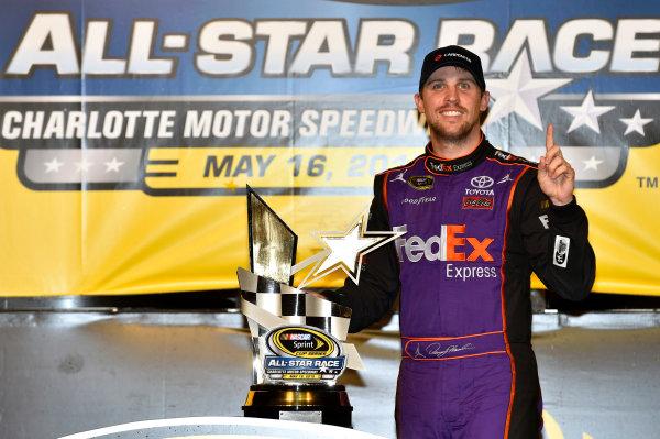 15-16 May, 2015, Concord, North Carolina, USA Denny Hamlin, FedEx Express Toyota Camry celebrates his win in Victory Lane ? 2015, Nigel Kinrade LAT Photo USA