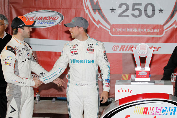 24 April, 2015, Richmond, Virginia USA Denny Hamlin, Hisense Toyota Camry in victory lane congratulated by Daniel Suarez ?2015, Matthew T. Thacker LAT Photo USA