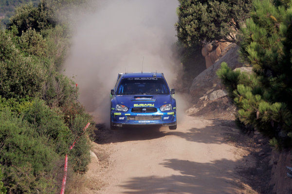 2004 FIA World Rally Champs. Round thirteen, Rally Italia Sardinia.30th September - 3rd October 2004.Petter Solberg, Subaru, actionWorld Copyright: McKlein/LAT