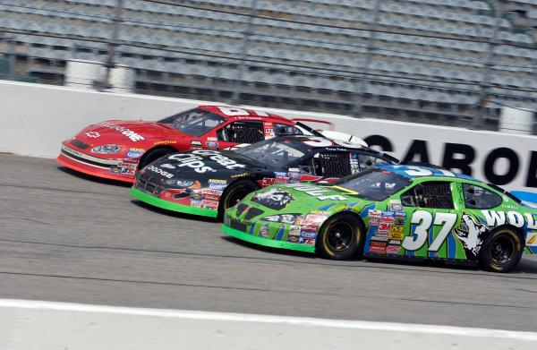 19-21 March 2004,Darlington Raceway,USA,Busch Series 200,#wide for 3rd place with David Green (37) Kasey Kahne (38) and Joe Nemechek,Copyright-Robt LeSieur 2004LAT Photographic