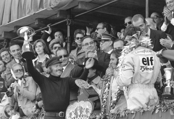 1973 Spanish Grand Prix.Montjuich Park, Barcelona, Spain. 29 April 1973.Colin Chapman, Emerson Fittipaldi and Francois Cevert on the podium. Ref-5278 #24.World Copyright - LAT Photographic