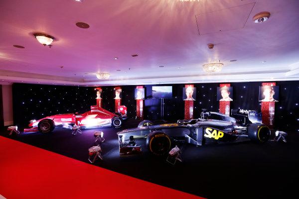 2014 Autosport Awards. Grosvenor House Hotel, Park Lane, London. Sunday 7 December 2014. McLaren F1 car and MSV Formula 2 car. World Copyright: Sam Bloxham/LAT Photographic. ref: Digital Image _14P3453