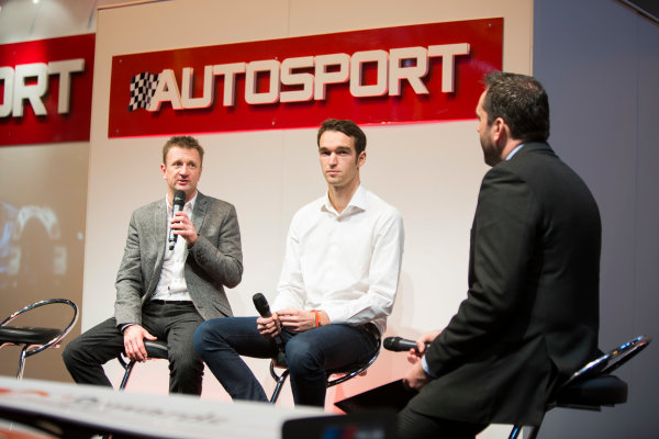 Autosport International Exhibition. National Exhibition Centre, Birmingham, UK. Friday 9 January 2015. Allan McNish and Harry Tincknell on the Autosport stage. World Copyright: Malcolm Griffiths/LAT Photographic. ref: Digital Image A50A1459