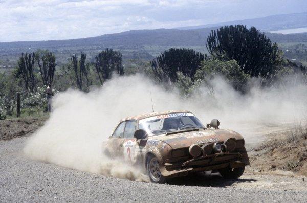 1981 World Rally Championship.Safari Rally, Kenya. 16-20 April 1981.Alain Ambrosino/Jean-Francois Fauchille (Peugeot 504 V6 Coupe), retied.World Copyright: LAT PhotographicRef: 35mm transparency 81RALLY16