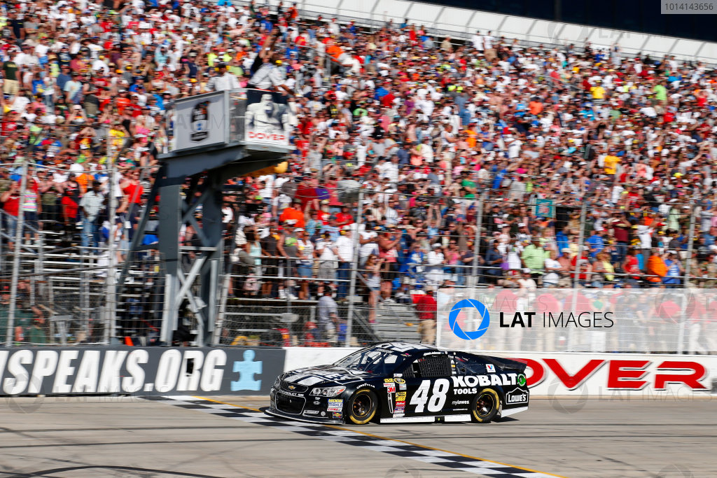 31 May-1 June, 2014, Dover, Delaware USA Jimmie Johnson takes the checkered flag to win the race ?2014, Lesley Ann Miller LAT Photo USA