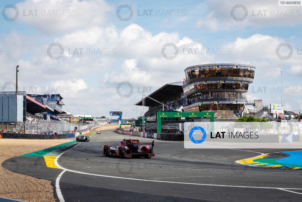 2016 Le Mans 24 Hours. Circuit de la Sarthe, Le Mans, France. Audi Sport Team Joest / Audi R18 - Marcel Fassler (CHE), Andre Lotterer (DEU), Benoit Treluyer (FRA).  Sunday 19 June 2016 Photo: Adam Warner / LAT ref: Digital Image _L5R7381