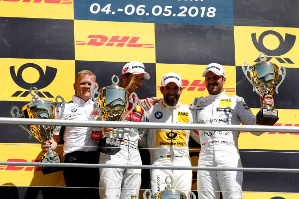 Podium: Race winner Timo Glock, BMW Team RMG, second place Mike Rockenfeller, Audi Sport Team Phoenix, third place Gary Paffett Mercedes-AMG Team HWA, Stefan Reinhold, Team principal, BMW Team RMG.