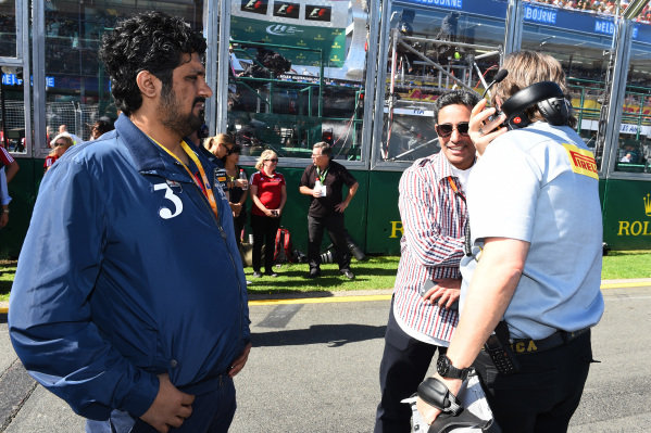 Shaikh Salman bin Isa Al Khalifa (BRN) Chief Executive of Bahrain International Circuit with Pirelli engineers at Formula One World Championship, Rd1, Australian Grand Prix, Race, Albert Park, Melbourne, Australia, Sunday 15 March 2015.