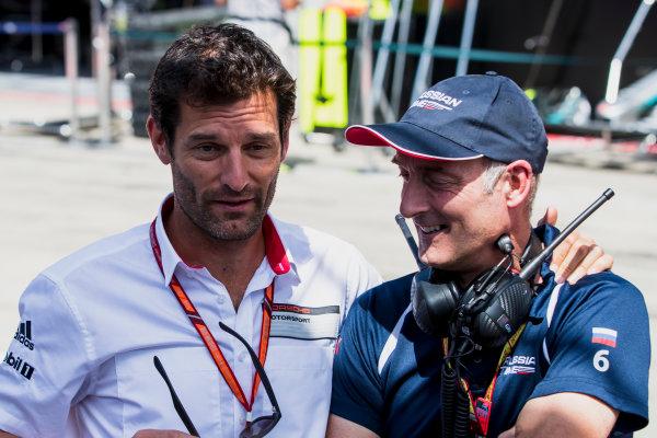 2017 FIA Formula 2 Round 5. Red Bull Ring, Spielberg, Austria. Sunday 9 July 2017. Mark Webber at the podium. Photo: Zak Mauger/FIA Formula 2. ref: Digital Image _54I0259