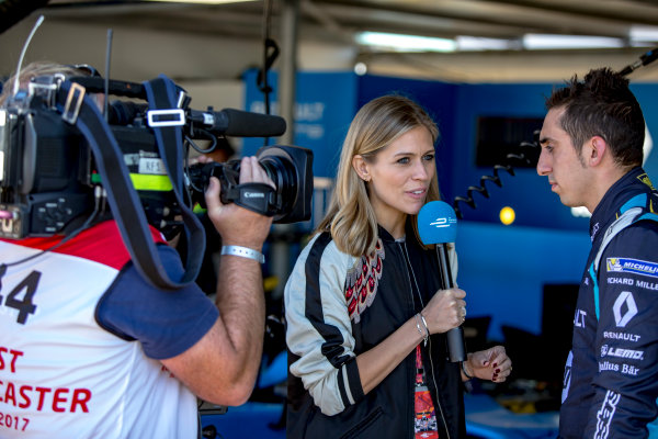 2016/2017 FIA Formula E Championship. Marrakesh ePrix, Circuit International Automobile Moulay El Hassan, Marrakesh, Morocco. Saturday 12 November 2016. Nicky Shelds interviews Sebastien Buemi (SUI), Renault e.Dams, Spark-Renault, Renault Z.E 16.  Photo: Zak Mauger/Jaguar Racing ref: Digital Image _L0U7099