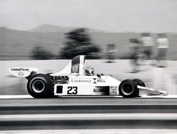 1975 United States Grand Prix. Watkins Glen, New York, USA. 3-5 October 1975. Tony Brise (Hill GH1-Cosworth), retired, action. World Copyright - LAT Photographic