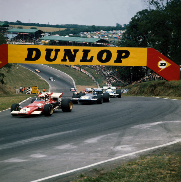Brands Hatch, England. 16th - 18th July 1970.Clay Regazzoni (Ferrari 312B), 4th position, leads Jackie Stewart (March 701-Ford), retired, and Jean-Pierre Beltoise (Matra-Simca MS120), retired, action. World Copyright: LAT Photographic.Ref:  4109A