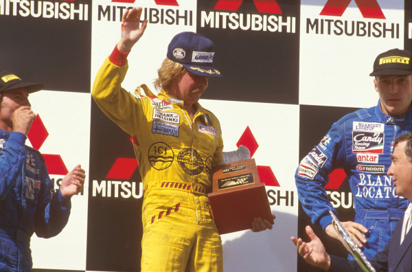 Adelaide, Australia.1-3 November 1985.Keke Rosberg (Williams Honda) 1st position, Jacques Laffite, 2nd position and Philippe Streiff, 3rd position (both Ligier Renault) on the podium.Ref-85 AUS 11.World Copyright - LAT Photographic