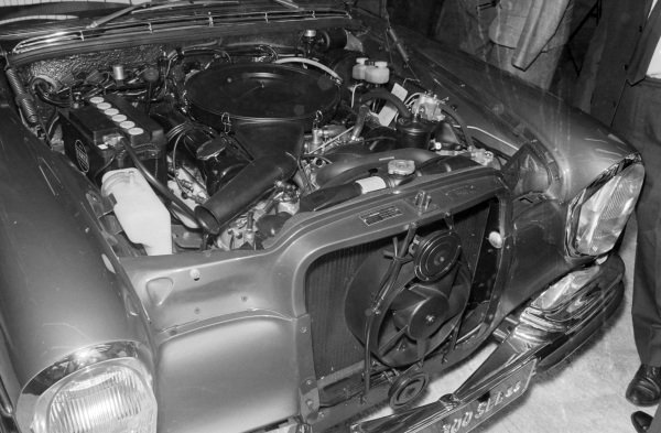 Engine compartment on a Mercedes Benz 300 SEL.