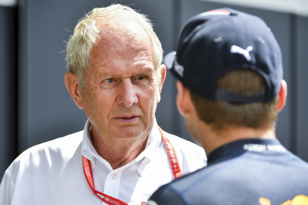 Helmut Marko, Consultant, Red Bull Racing, andMax Verstappen, Red Bull Racing