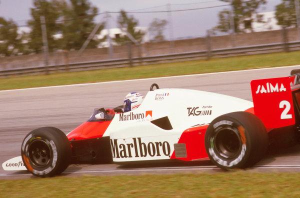 Jacarepagua, Rio de Janeiro, Brazil.5-7 April 1985.Alain Prost (McLaren MP4/2B TAG Porsche)Ref-85 BRA 02.World Copyright - LAT Photographic