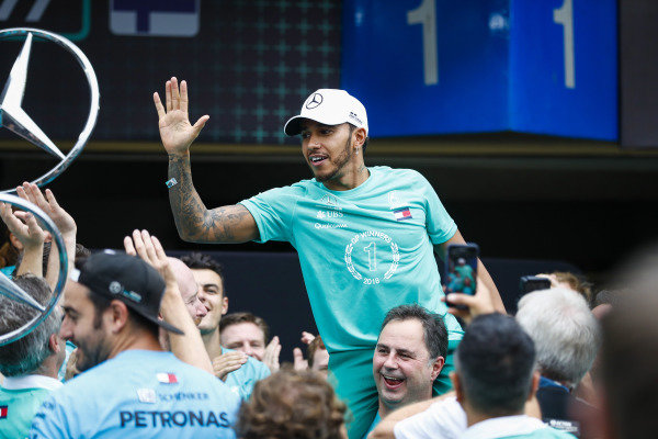 Lewis Hamilton, Mercedes AMG F1, celebrates winning the constructors' world championship.