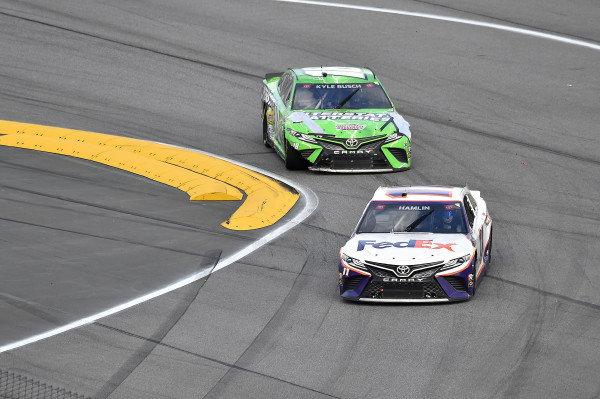 #11: Denny Hamlin, Joe Gibbs Racing, Toyota Camry FedEx Express and #18: Kyle Busch, Joe Gibbs Racing, Toyota Camry Interstate Batteries