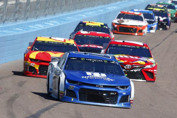 #88: Alex Bowman, Hendrick Motorsports, Chevrolet Camaro Nationwide, #42: Kyle Larson, Chip Ganassi Racing, Chevrolet Camaro McDonald's and #18: Kyle Busch, Joe Gibbs Racing, Toyota Camry SKITTLES