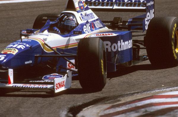Estoril, Portugal.20-22 September 1996.Damon Hill (Williams FW18 Renault) 2nd position. Ref-96 POR 06.World Copyright - LAT Photographic